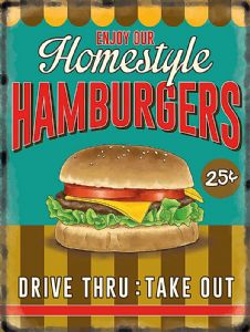 Homestyle Hamburgers large metal sign  400mm x 300mm   (og)